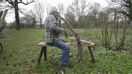 rasp : OTFORD,UK-JANUARY 24 2014 :A man demonstrates how to use old fashioned woodworking tools. Stock Footage