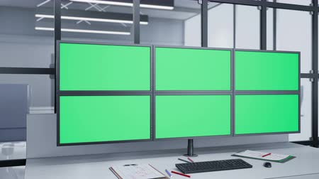 supervisor : Installed at angle camera near Multiple Monitors with chroma key. animation. Stock Footage