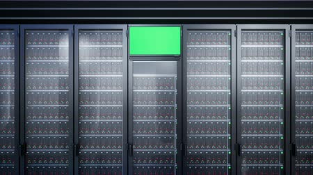 hdd : Camera zoom to server racks with lcd display with chroma key for system monitoring.