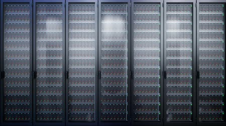 hdd : Camera slide near datacenter server racks. 4K 60 fps loopable animation. Stock Footage