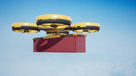 self storage : Large Cargo drone moves 40-foot container. Loopable 4k 60fps animation with alpha matte.