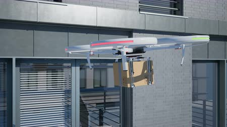 automatyka : Drone delivers parcel to residence. 4K 60fps animation.