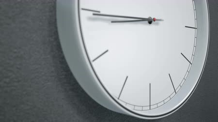 yirmi : 12 hours timelapse of modern design minimalistic clock on dark wall. Two camera angles 60fps animation Stok Video