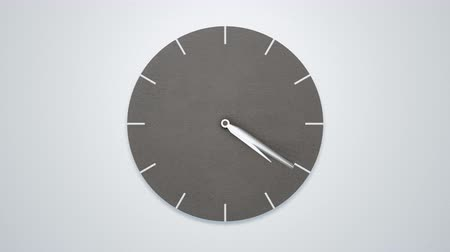 dia : Timelapse of Modern minimalistic concrete clock on white wall. 4K 60fps loopable animation