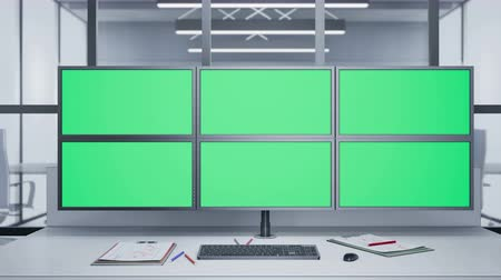supervisor : Camera slides near Multiple Monitors with chroma key. 60 fps animation. Stock Footage