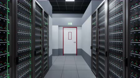 iş istasyonu : Camera fly around server room in data center. 60 fps loopable animation. Stok Video
