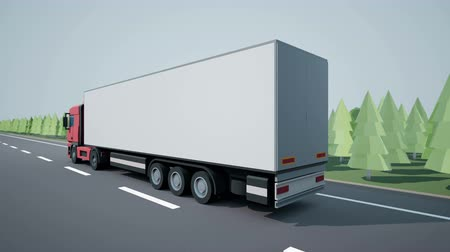 tir : View of a euro semi truck with cargo trailer driving on highway. Low poly graphics 4K 60 fps loopable animation. Stock Footage