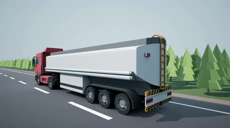 tir : Back view camera follows euro oil tanker truck and driving on highway. Low poly graphics 4K 60 fps loopable animation. Stock Footage