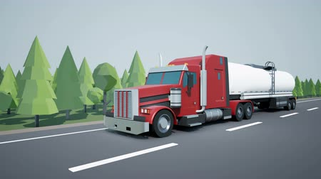 tir : Front view camera follows American semi truck with oil tanker on highway. Low poly graphics 4K 60 fps loopable animation. Stock Footage