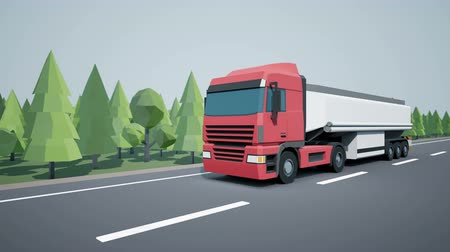 tir : A front view of a euroset truck driving a car on a highway. Low poly graphics 4K 60 fps loopable animation.