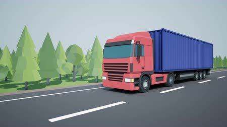 tir : Front view of a truck driving a semi-trailer on a semi-trailer. Low poly graphics 4K 60 fps loopable animation.