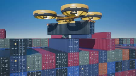 self storage : Large cargo drone takes container from terminal. 4k 60 fps animation with alpha channel.