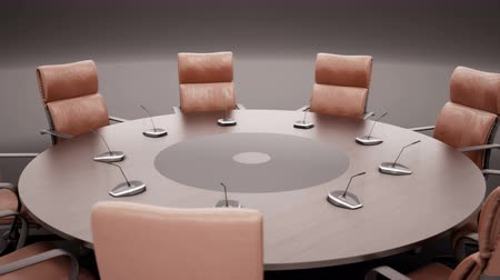 camera rotation : Round Conference Table. On Dark Background. Rotates 360 Degrees. Closeup. Loopable 60 FPS Animation. Stock Footage