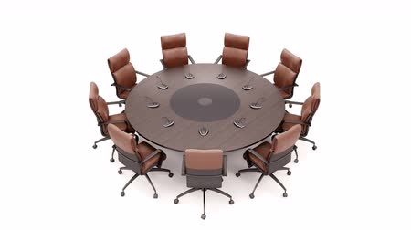 camera rotation : Round Table On White Background Rotates 360 Degrees. Top View. Loopable 60 FPS Animation.