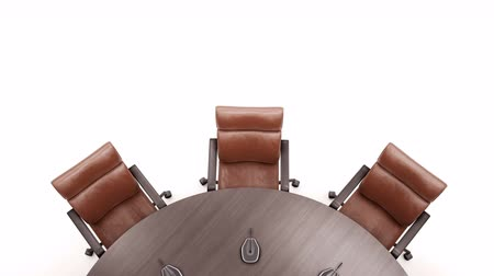 metáfora : Round Conference Table On White Background. Camera Rotates 360 Degrees. Top View. Loopable 60 FPS Animation.