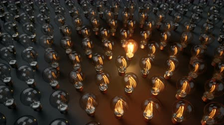 zapalovač : Light Bulb Is Starts To Lit Among The Array Of Glass Bulbs. Finding Solution Or Idea. 60 fps animation.