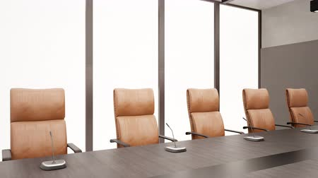 sala konferencyjna : Modern Meeting Room, Dark Wood Table, Brown Leather Chairs. 60 FPS Animation