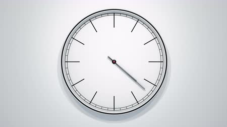 minute : 12 Hours Timelapse Of Modern Minimalistic Clock On White. 60fps Loopable Animation.