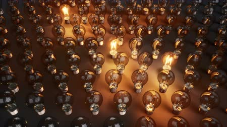 zapalovač : Finding Solution Or Ideas. Light Bulbs. Start To Lit Among Array Of Glass Bulbs. 60 fps animation.