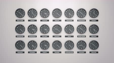 soletrar : Round Clocks Show. Different Time Zones On White Wall. Loopable Clock Face Timelapse loopable 60 Fps Animation.