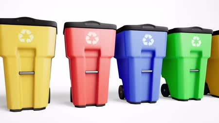 çöplük : Colorful plastic trash bins set in a row. Camera slides along waste tanks. 60 fps loopable animation Stok Video