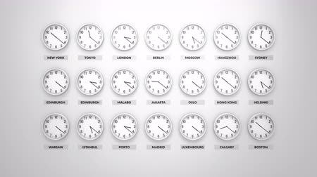 adversidade : Round clocks with white body show different time zones on white wall. Loopable clock face timelapse 60 fps animation. Stock Footage