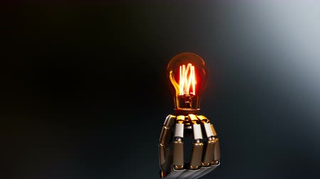 хорошее здоровье : Robotic hand gives a light bulb to viewer, symbol of creation idea by artificial intelligence. Abstract dark background, 60 fps animation