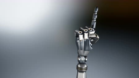 índice : Metal cyborg robotic arm points index finger into viewer. Metal shines. Abstract dark background. 60 fps animation with alpha matte.