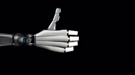 amputee : Robotic hand giving thumb up. Futuristic cyborg, metal shines, black background, 60 fps animation. Stock Footage