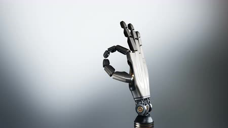 no hands : Robotic palm shows. Ok symbol. Futuristic cyborg arm, metal shines, abstract dark background, 60 fps animation, alpha matte. Stock Footage
