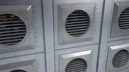 cooling : Units of industrial ventilation system, fans during rotation. Indoor or outdoor cooling or heating process. 60 fps seamless animation.