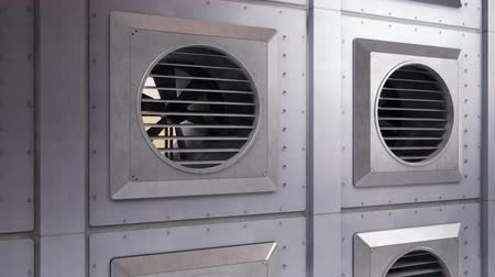 származás : Many industrial ventilation fans during rotation. Air conditioning system. Indoor or outdoor cooling or heating process. Camera zoom out, 60 fps animation. Stock mozgókép