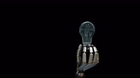 idéia genial : Robotic hand gives a light bulb to viewer, symbol of creation idea by artificial intelligence. Black background, 60 fps animation Vídeos