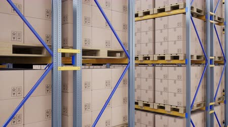 szállító : Closeup of large metal racks and shelves, pallets with cardboard boxes in modern warehouse. Loopable 60 fps animation.