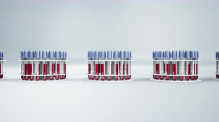 vendégszeretet : White holders with vacutainers filled with blood samples. 60 fps animation.