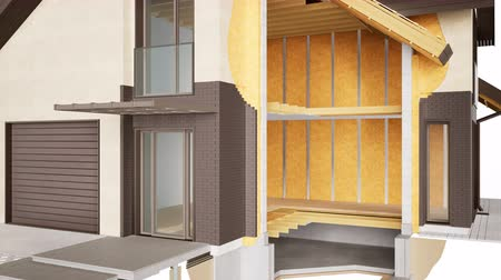 yalıtım : Cutaway of house. Visible structures, interior and insulation. Brown bricks. 60 fps animation. Stok Video