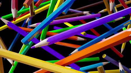 piled : Endless pile of coloring pencils falling down. Endless falling color pencils, drop down of many colored artistic pencils. 60 fps loopable clip, black background behind.