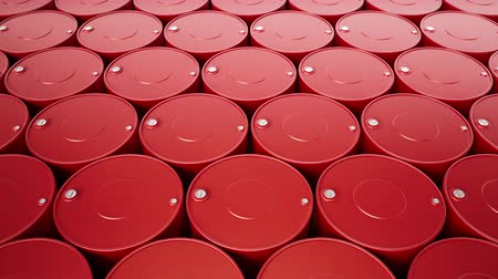 Camera zoom out of endless stack of red metal oil barrels. Closeup of fuel cans, top of petrol drums with filler necks. 60 fps animation