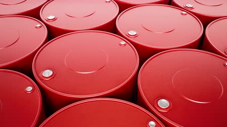 buben : Top view of endless stack of red metal oil barrels, closeup. Camera move above fuel cans, top of petrol drums with filler necks. Seamless loop 60 fps animation