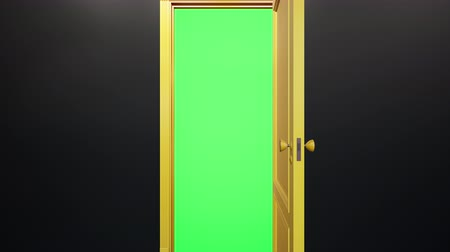 Yellow classic design door opening to green screen, black wall. Camera move through doorway. 60 fps transition animation. Stockvideo