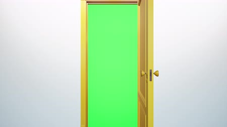 chroma key : Yellow classic design door opening to green screen. Camera move through doorway. 60 fps transition animation.