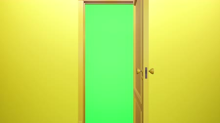 drzwi : Yellow classic design door opening to green screen, yellow wall behind. Camera move through doorway. 60 fps transition animation. Wideo