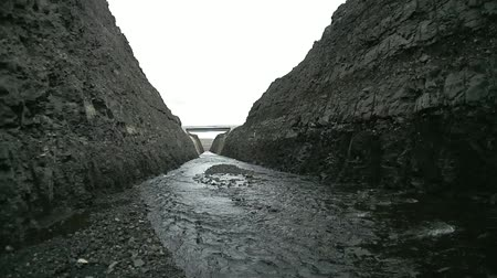 culvert : Main view on artificial canal on iceland