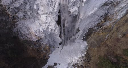 icefall : Ice waterfall climb up - Aerial 4K