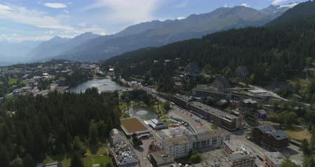 valais : Montana frontal traveling, summer - Aerial 4K Stock Footage