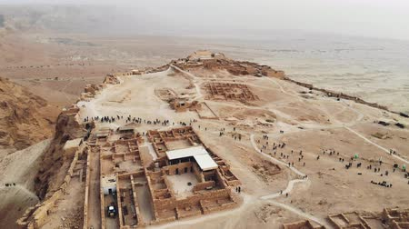 infantry : flying over Masada fortress area Southern District of Israel Dead Sea area Southern District of Israel. Ancient Jewish fortress of Roman Empire on top of a rock in Judean desert. view from the air