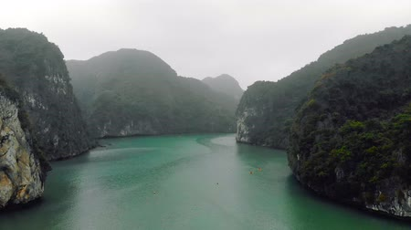 cheerless : Top view of Halong Bay Vietnam. Beautiful seascape with rocks and sea. Exotic nature of Southeast Asia.