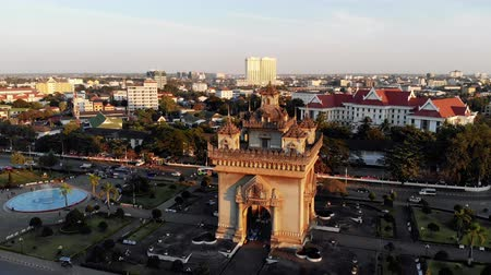 vientiane : Patuxai Gate in Thannon Lanxing area of Vientiane, Laos Stock Footage
