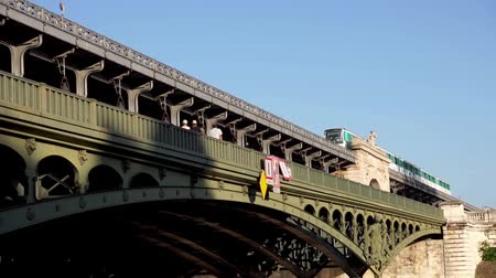 bir hakeim : Aerial Metro crossing Bir Hakeim bridge (Passy Viaduct) - Paris, France Stock Footage