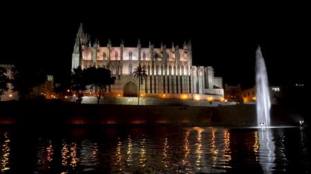 baleár : Night Timelapse of la Seu, the Cathedral of Palma de Mallorca - Balearic Islands. With reflection over the water, illuminated fountain and peoples walking along the cathedral.
